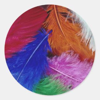 Gekleurde veren ronde sticker