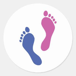 gekleurde voetafdrukken ronde sticker