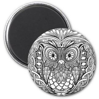 Geknoopte Zwart-witte Uil Mandala Magneet
