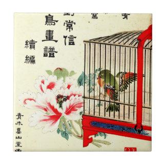 Gekooide Vogel en Bloesem 1870 Keramisch Tegeltje