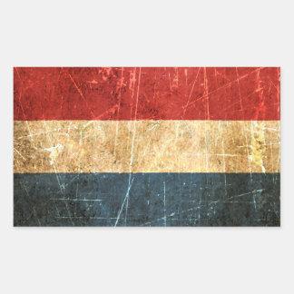 Gekraste en Versleten Vintage Nederlandse Vlag Rechthoekige Sticker