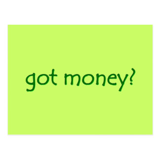 gekregen geld? Briefkaart