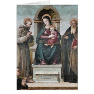 Gekroond Madonna en Kind met Heiligen Briefkaarten 0