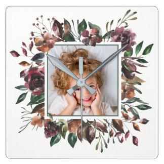 Gekruid Botanisch   BloemenLijst met uw Foto Vierkante Klok