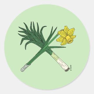 Gekruiste prei en Gele narcis Ronde Sticker