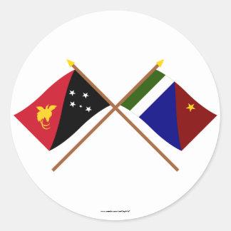 Gekruiste vlaggen van de Provincie van PNG en van Ronde Sticker