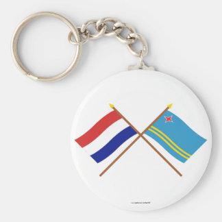 Gekruiste vlaggen van Holland en Aruba Sleutelhanger
