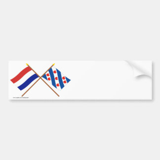 Gekruiste vlaggen van Holland en Friesland Bumpersticker