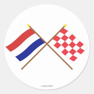 Gekruiste vlaggen van Holland en Noord-Brabant Ronde Stickers