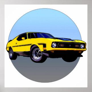 Gele Auto Poster