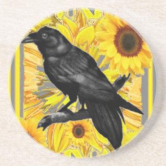 gele bloemen zwarte kraai & zonnebloemenart. zandsteen onderzetter