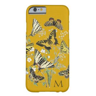 Gele Botanische Vlinder, Met monogram Barely There iPhone 6 Hoesje