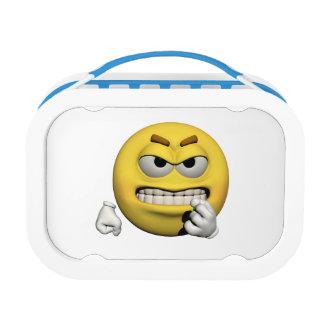 Gele boze emoticon of smiley lunchbox