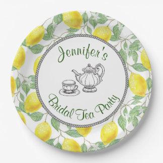 Gele Citroenen met het Groene Bruids Theekransje Papieren Bordje