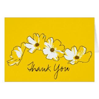 Gele Daisy Chain Thank You Kaart