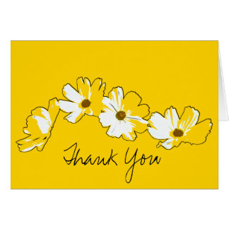 Gele Daisy Chain Thank You Wenskaart