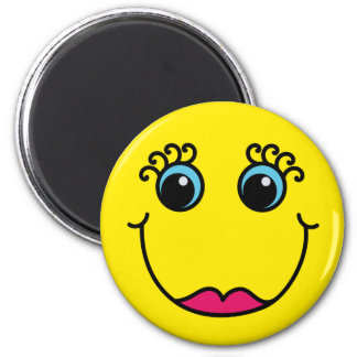 Gele Dame Smiley Face Magneet