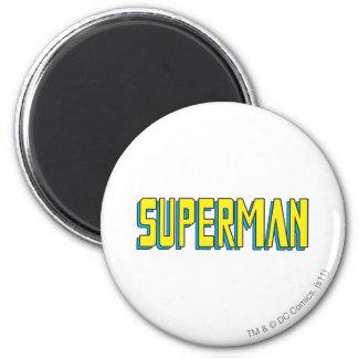 Gele de Brieven van de superman/Blauw Ronde Magneet 5,7 Cm