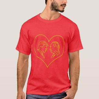 Gele de Tekening van de Lijn van het Hart van de T Shirt