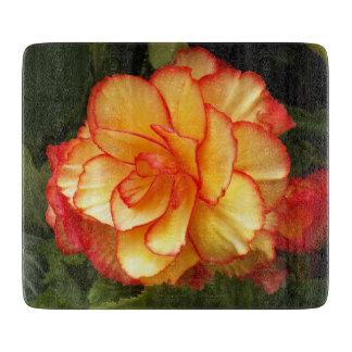 Gele en Rode Begonia Bloemen Snijplank