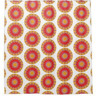 Gele en Rode Boho om Mandala (de Druk van LG) Gordijn 0
