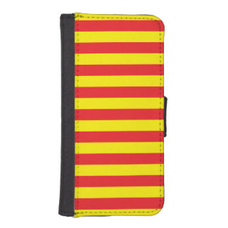 Gele en Rode Horizontale Strepen iPhone 5 Portemonnee Hoesje