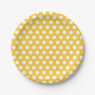 Gele en Witte Stippen Papieren Bordje