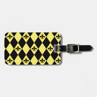 Gele en Zwarte fleur-DE-lys-diamanten Kofferlabel