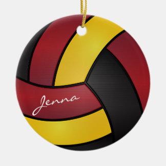 Gele en Zwarte Volleyball 2% pipe% het van Rond Keramisch Ornament
