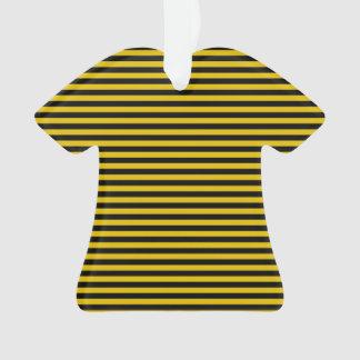 Gele Gouden en Zwarte Gestreepte Plaid Ornament