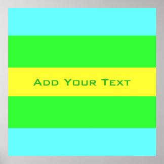 Gele, Groene, Blauwe Brede Strepen door Shirley Poster