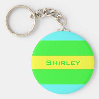 Gele, Groene, Blauwe Brede Strepen door Shirley Sleutelhanger