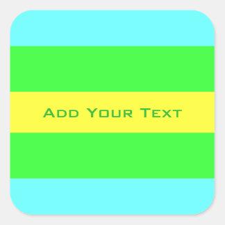 Gele, Groene, Blauwe Brede Strepen door Shirley Vierkante Sticker