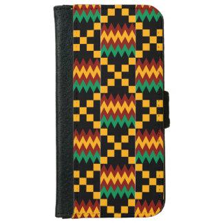 Gele, Groene, Rode, Zwarte Doek Kente iPhone 5 Portefeuille Hoesje