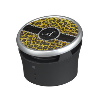 Gele het neon van het monogram schittert luipaard bluetooth speaker
