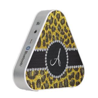 Gele het neon van het monogram schittert luipaard speaker