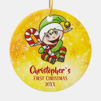 Gele het Riet van het Snoep van het Elf van Eerste Rond Keramisch Ornament