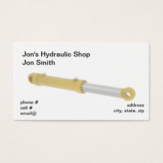 Gele hydraulische cilinder visitekaartjes