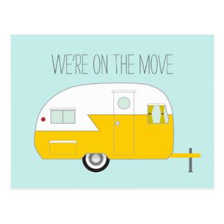 Gele Kampeerauto Briefkaart