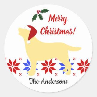 Gele Kerstmis van de Kerstman van het Silhouet van Ronde Sticker