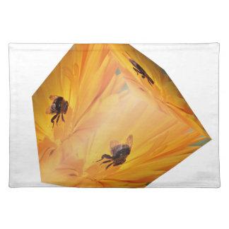 Gele kubus met bijeninsect en bloem placemat