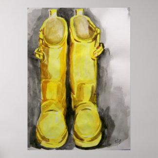 Gele Laarzen 4 van de Regen Poster