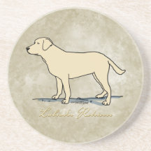 Gele Labrador Zandsteen Onderzetter