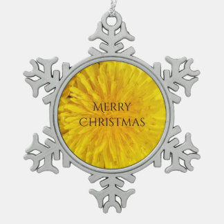 Gele Punt 0560 van de Foto van de Bloem van de Tin Sneeuwvlok Ornament