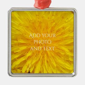 Gele Punt 0560 van de Foto van de Bloem van de Zilverkleurig Vierkant Ornament