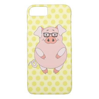 Gele & Roze Polkadot Piggy iPhone 8/7 Hoesje