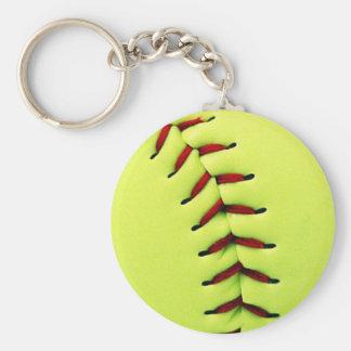 Gele softballbal basic ronde button sleutelhanger