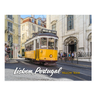 gele tram in Lissabon, Portugal Briefkaart