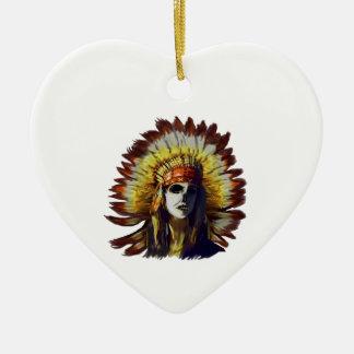 Gele Veer Keramisch Hart Ornament