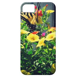 Gele Vlinder met de Foto van Bloemen Barely There iPhone 5 Hoesje